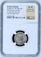 Roman Empire Gordian III AD238-244 AR Denarius Hercules set upon rock NGC Ch XF