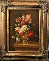 Bild Öl Blumen Blumenstrauß schönes Gemälde im Rahmen signiert