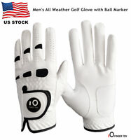 Mens Golf Gloves Leather Fit Magnetic Ball Marker White Rain Grip Pick Size