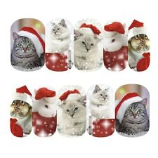 Nail Art Sticker Water Transfer Stickers Xmas Cats Bunnies In Santa Hats (DS413)