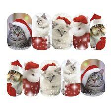 Nail Art Sticker Water Transfer Stickers Xmas Cats Bunnies In Santa Hats (DS413)