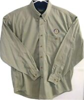 Rotory Club International Dunbrooke Mens L Tan Long Sleeve Button Front Shirt