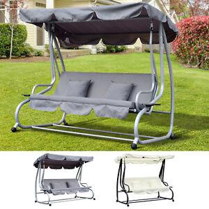 Hollywoodschaukel 3-Sitzer Gartenschaukel mit Dach Liegefunktion Stahl 2 Farben