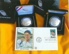TWO CURVE HALL OF FAME silver baseball $1 &  LOU GEHRIG first day cover COA/GOP