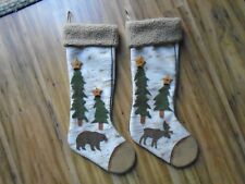 NEW Set of 2 Christmas Moose & Bear Stockings Birch look wood stars CabinCountry
