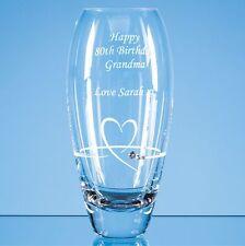 Personalised Engraved Petit Diamante Crystal Heart Vase - Anniversary Wedding