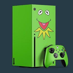 Xbox Series X Vinyl Skin & 2x Controller Skins, Kermit The Frog Themed.