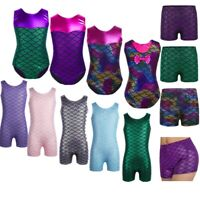 Mermaid Gymnastic Leotard Girls Kids Ballet Dance Dress Dance Short Costumes