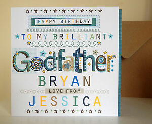 Godfather birthday card personalised Special happy birthday card for Godfather