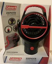 Coleman Zephyr Cup Holder Fan with Battery Lock Black Red NEW