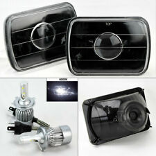 """7X6"""" Black Glass Projector Headlight Conversion w/ 6K 36W LED H4 Bulbs Pair Jeep"""
