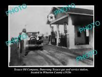 OLD POSTCARD SIZE PHOTO OF TEXACO OIL Co SERVICE STATION WHARTON COUNTY c1920s