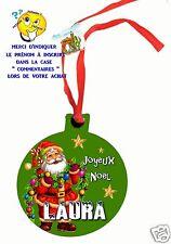 décoration de noël en MDF à suspendre avec ruban personnalisé avec prénom réf 02