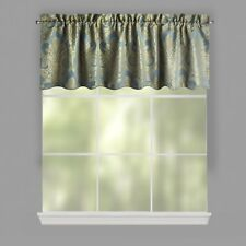 "Blue Damask Jacquard Window Valance 84""W x 24""L"
