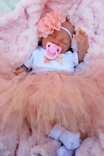 REBORN BABY GIRL DOLL PEACH TUTU SLEEPING BABY SOFIA S144