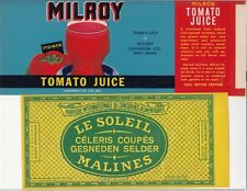 Vintage LE SOLEIL MALINES Label and Milroy Tomato Juice Label  / q2