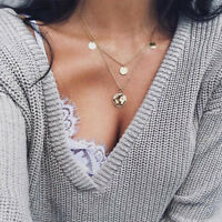 Double-layer World Map Pendant Necklace Women Silver Gold Earth Chain Jewelry