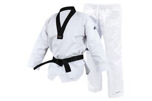 adidas WT Champion III Taekwondo Suit Adult Dobok White Black Collar Dan Uniform