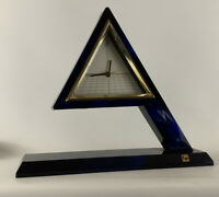Vintage Mid Century 1980's Modern Memphis Japan Kyo Floating Pyramid Clock