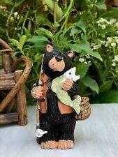 Miniature Dollhouse FAIRY GARDEN Figurine ~ Mini Bear Fisherman with Pole & Fish