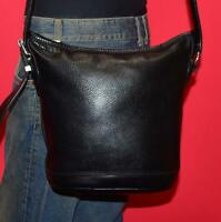 Vintage ROOTS Black Leather Bucket Shoulder Cross-body SMALL Purse Bag CANADA