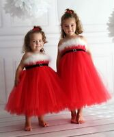 New Red Sparkly Sequin Princess Girls Dress Gown Christmas Party Kids Clothes