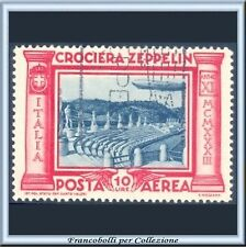 1933 Italia Regno Posta Aerea Crociera Zeppelin L. 10 rosso e grigio n. 47 Usato