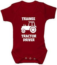 Trainee Tractor Driver Baby Grow/Romper/Bodysuit/Vest 0-24m Boy Girl