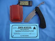 TOPS Tac Raze Friction Folder Knife w/Sheath 1095 Carbon Steel Black G-10 USA