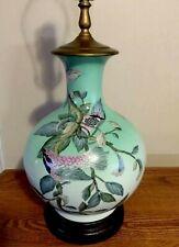 Antique Japanese Porcelain LAMP H-P Birds Floral Wooden Base Gold BEAUTY