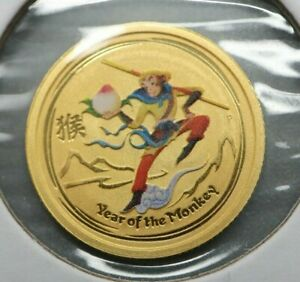 2016 $5 1/20 OZ GOLD REVERSE PROOF COLORIZED AUSTRALIAN LUNAR MONKEY KING .9999