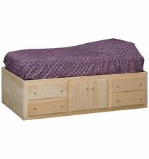 AMISH ~ Rustic Pine QUEEN UNFINISHED CAPTAIN'S STORAGE Platform Bed 8 Drawers