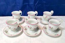 Richard Ginori Old Roselline Porpora 6 Coffe Cups & saucer - Vintage - NEW