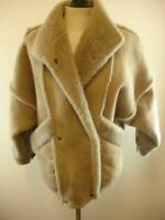 Womens M Overland Sheepskin Shearling Leather Fur Jacket Coat Taupe Brown Heavy