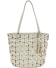 NWT PATRICIA NASH LEATHER MIZZANA TWISTED BRAID METALLIC TOTE BAG WHITE