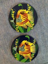 New listing Set of 2 Tropical Fish Coasters or wall decor hand painted on hardboard New