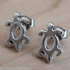 Turtle Earrings - 925 Sterling Silver - Turtle Tortoise Post Stud Jewelry Sea