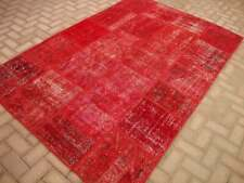 Patchwork Rug  Red Overdyed Rug Patchwork Antique Handmade Oriental 5.3x 7.8 ft