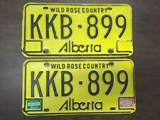 1983/1984 Alberta License Plates Matched Pair KKB-899 Vtg Yellow Plate Tags Tag