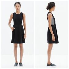 MADEWELL BLACK ' ABROAD' INSET FIT & FLARE DRESS SIZE 0