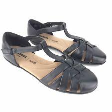 Clarks 7.5 W Black Gracelin Art Leather T Strap Fisherman Sandal Shoes