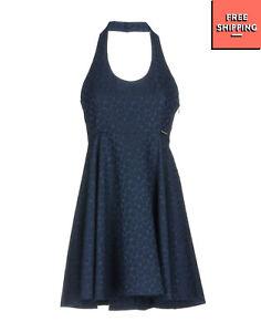 MAISON ESPIN Jacquard Flared Dress Size M Floral Pattern Zip Side Halterneck