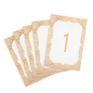 25 PCS DAVID TUTERA™ GOLD GEOMETRIC BORDER TABLE NUMBER CARDS
