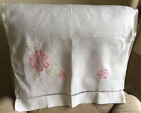 Embroidered Chair Back Vintage Retro Art Deco 1930s Linen Pink Silk Floral Throw