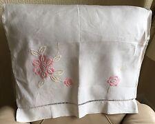Rétro Vintage Art Deco 1930 S chaise dos Lin Soie Rose Brodé Floral