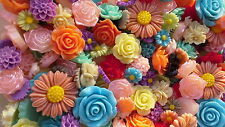 20 x Mixed resin flowers - Various Sizes and colours - embellishments-cardmaking