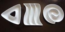 Crate & Barrel Set of 3 White Porcelain Appetizer Dishes Dishwasher Oven Safe