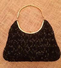 Vivant by Sarne Hand Bag Italian Beads w/ Sequins, Black w/ Gold Colored Trim