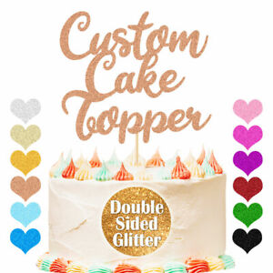 Personalised Birthday Cake Topper Customized Any Name Age Word Glitter Decor