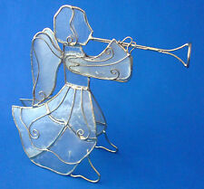 """Christmas figurine or tree ornament mica 5½"""" angel wrapped gold wire with horn"""